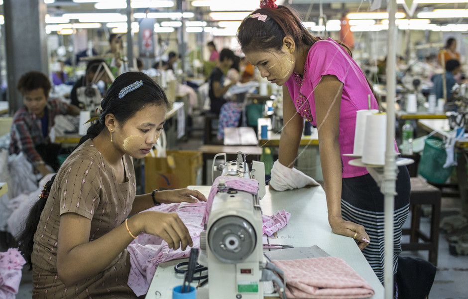 Workers inside the Golden Jasmine garment factory,Hlaing Thar Yar Industrial Zone,Yangon,Myanmar.