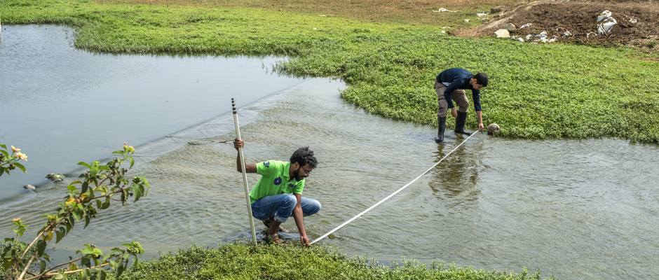 Sayan & Shashank takes measurement at wetland in Jakkur Lake in Banglore,India.