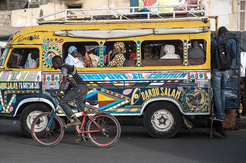 Bus in street in Senegal