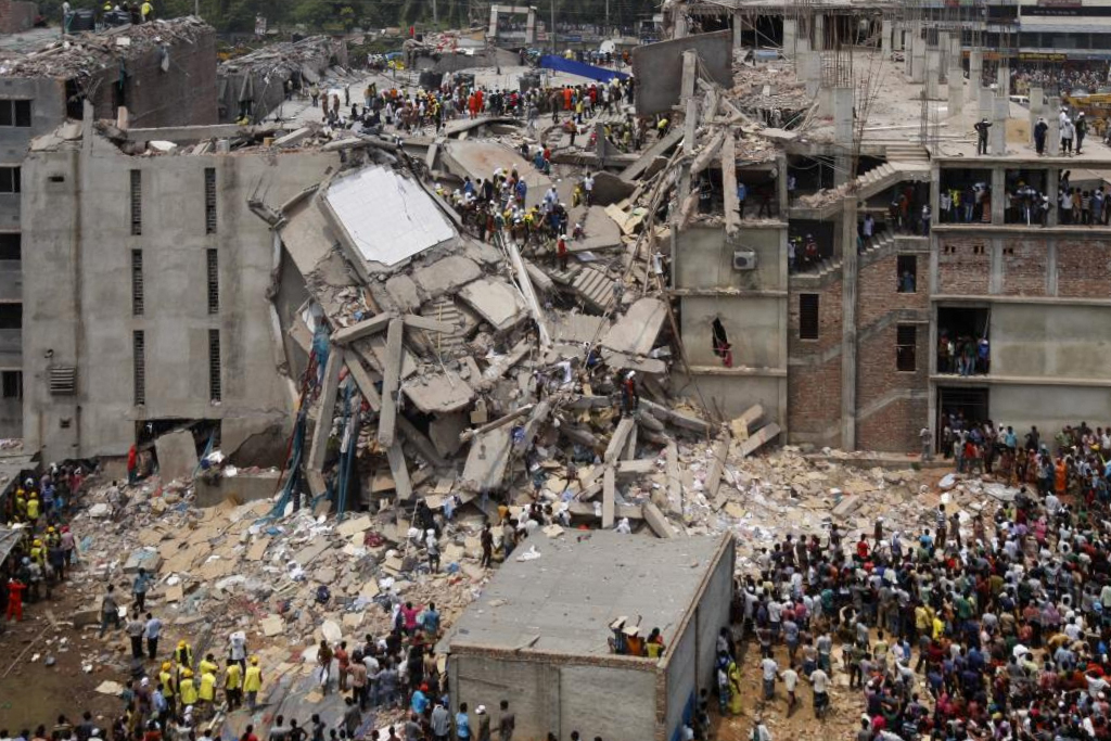 The collapse of a garment factory in Dhaka, Bangladesh, on April 24, 2013