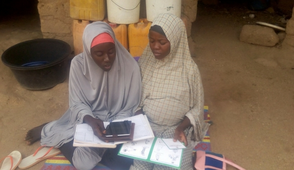 Providing health education at home with mobile tablets in Bauchi, Nigeria.